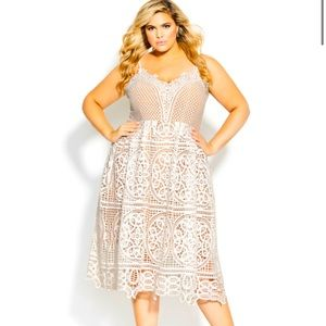 City Chic Lace Midi Dress